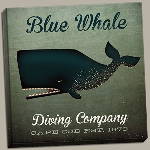 Buyartforless Distressed Blue Whale Diving Company Cape Cod Est 1973 by Ryan Fowler; One 12x12in Hand-Stretched ()