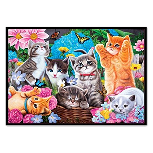 FORESTIME 5D DIY Diamond Painting Embroidery,Kitty Cue Stitch Diamond Embroidery Rhinestone Painting Cross Stitch Kit Painting by Number Kits Home Wall Decor (Multicolor, 30×40 cm)
