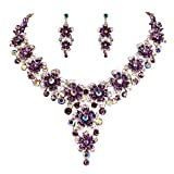 BriLove Women's Wedding Bridal Statement Necklace Dangle Earrings Jewelry Set with Crystal Multi Hibiscus Flower Amethyst Color Gold-Tone