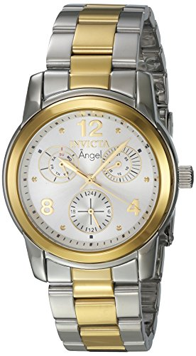 Invicta Angel Lady 38mm Stainless Steel Gold SS Silver Dial VH68 Quartz Watch