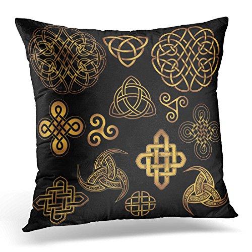 Emvency Throw Pillow Cover Golden Ancient Pagan Scandinavian Sacred Symbols and Ornaments Celtic Cross Knot The Druids Triskele Decorative Pillow Case Home Decor Square 18