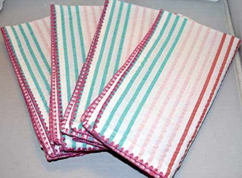 Design Imports DII Easter Spring Stripe Seersucker Napkins - Set of 4 - Pastel Colors