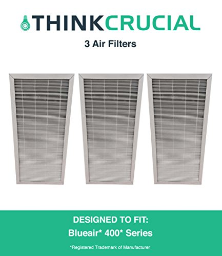 3 Replacements for Deluxe Blueair 400 Air Purifier Filter Fits ALL 400 Series Air Purifiers, by Think Crucial