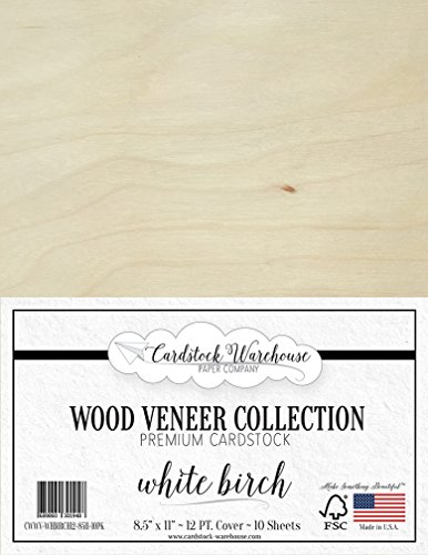 WHITE BIRCH WOOD VENEER Cardstock from Cardstock Warehouse 8.5