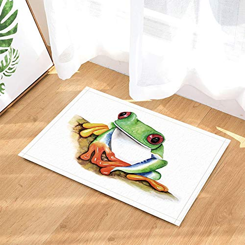 Animal Bath Rug by GoEoo A Hand Painted Green Frog Non-Slip Doormat Floor Entryways Indoor Front Door Mat Bathroom Rugs Memory Foam Kids Bath Mat 15.7x23.37in