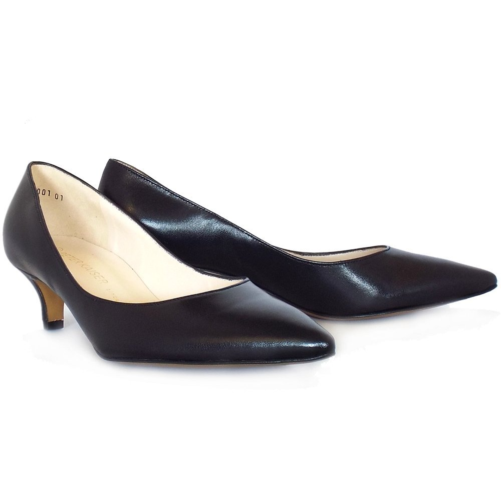 ccc9a4aea3a Peter Kaiser Rona Classic Pointed Toe Kitten Heel Court Shoes In Black  Leather 6 BLACK  Amazon.co.uk  Shoes   Bags
