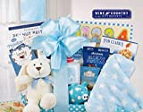 Celebrate the arrival of a precious new baby with this adorable, bunny themed gift basket! Filled with goodies for everyone to enjoy, this fabric lined willow basket has fun baby gifts like a plush rabbit, peg blocks and a blue polka dot blan...