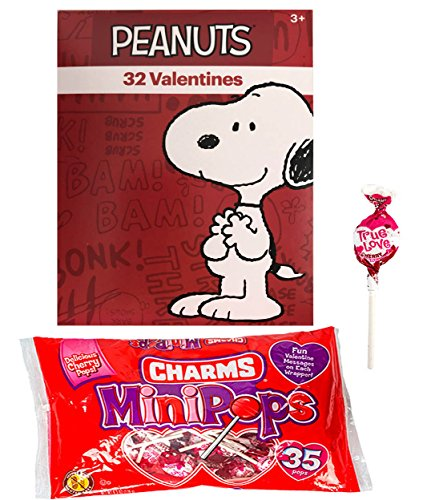 Peanuts Snoopy 32 Valentine Cards and Charms Lollipops MiniPops Classroom Exchange Bundle For ()