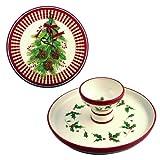 Reversible Cake Plate / Chip & Dip - Christmas Mistletoe