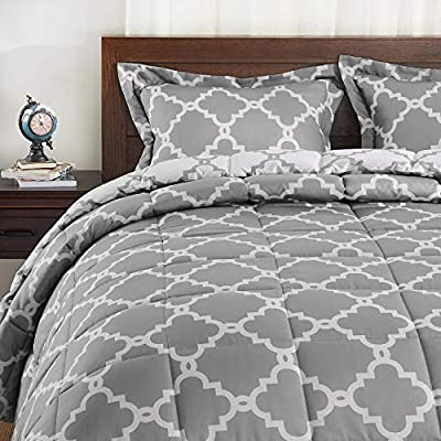 Basic Beyond Down Alternative Comforter Set (Queen, Grey) - Reversible Bed Comforter with 2 Pillows Shams for All Seasons - IN THE BOX - Set includes reversible comforter (88x92 inches) and 2 reversible pillow shams (20x26 inches) SOFT FIBER AND FILL - Our down alternative comforter is made of soft brushed microfiber which provides an extremely comfortable feel COLORFULLY- We offer a variety of color combinations that are sure to add elegance to any bedroom decor. - comforter-sets, bedroom-sheets-comforters, bedroom - 513gPHIQ%2BLL. SS400  -