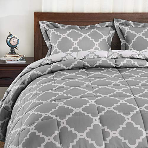 Basic Beyond Down Alternative Comforter Set (Queen, Grey) - Reversible Bed Comforter with 2 Pillows Shams for All Seasons (Set Gray Comforter White And Queen)