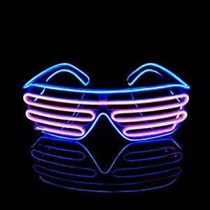 Aquat Light Up Neon Shutter Glasses LED Electroluminescent EL Wire Costumes Eyeglasses For Party RB03 (Blue + Pink)