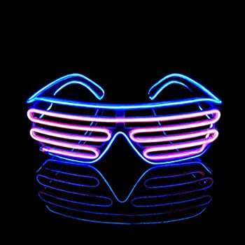 99ac6885f8 PINFOX Light Up Flashing Shutter Neon Rave Glasses El Wire LED Sunglasses  Glow DJ Costumes for Party