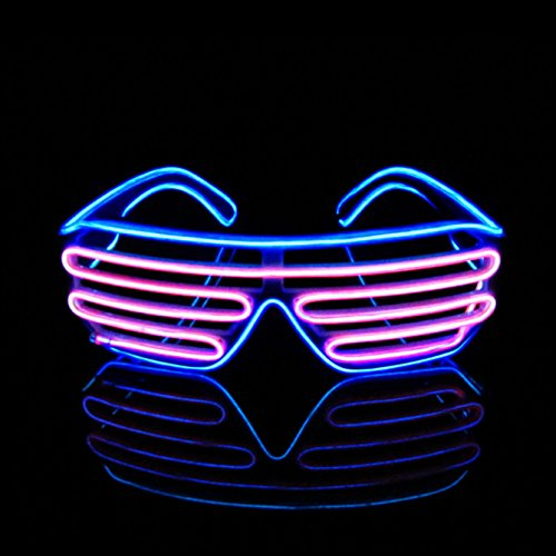PINFOX Light Up Flashing Shutter Neon Rave Glasses El Wire LED Sunglasses Glow DJ Costumes for Party, 80s, EDM RB03 (Blue - Pink)]()
