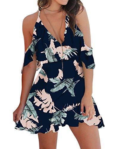 Bigyonger Womens Floral Cold Shoulder Dress Halter V-Neck Ruffle Sleeves Mini Dresses