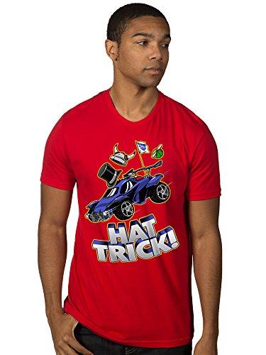 (JINX Rocket League Men's Hat Trick Premium Cotton T-Shirt (Red, Large))