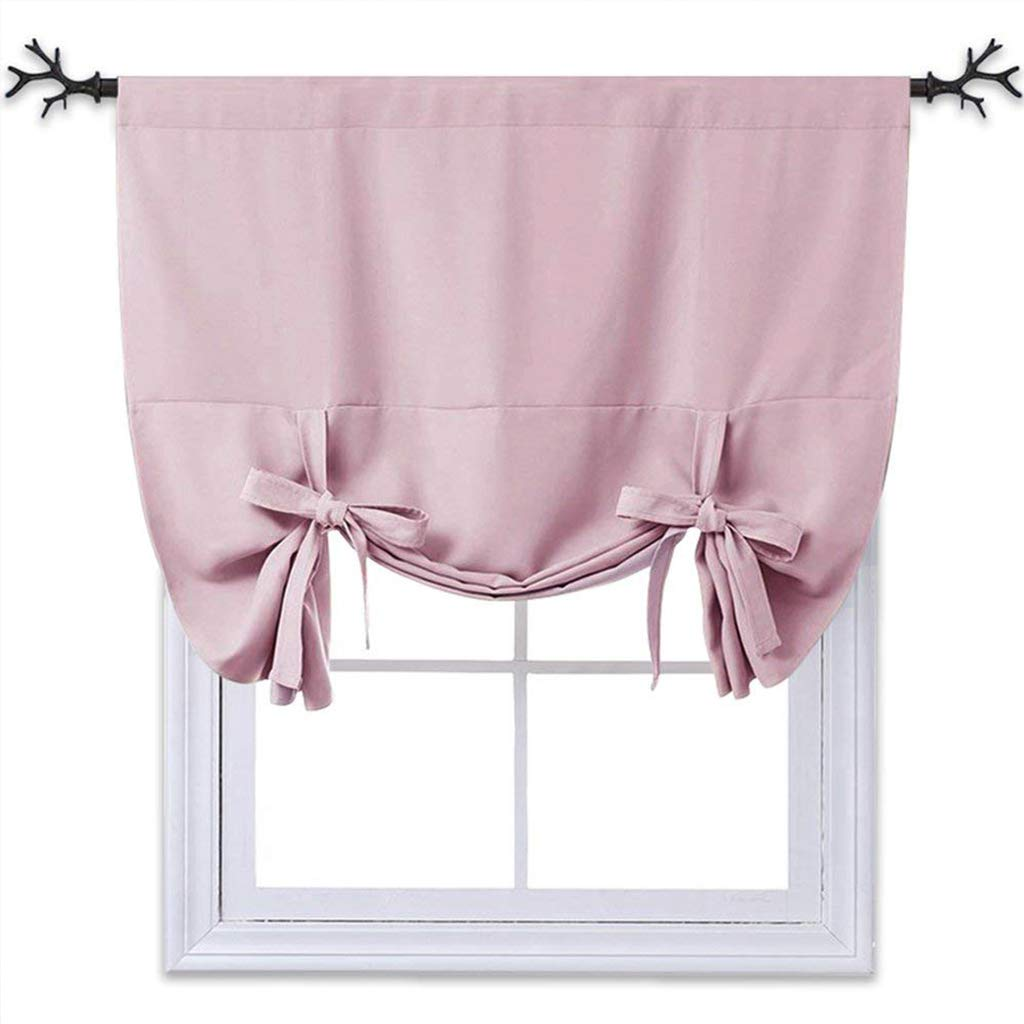 "NICETOWN Thermal Insulated Blackout Curtain - Tie Up Shade for Baby's Window (Lavender/Baby Pink, Rod Pocket Panel, 46"" W x 63"" L)"