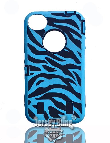 HOT!! NEW STYLE! Zebra Defender Hard Back Protective Hybrid Fusion 3 Piece Iphone 4/4S Case/Cover by Jersey Bling (TM) Includes: Screen Protector, Silicone outer, & Hard Plastic Case (Black (Iphone 4/4s))