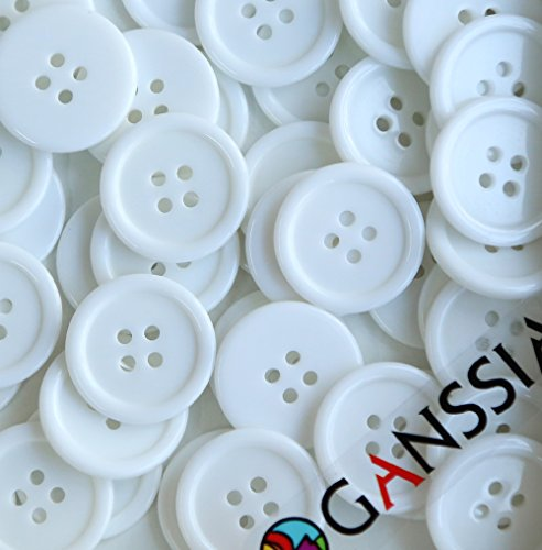 GANSSIA 7/8'' (22.5mm) Buttons Sewing Button Color White Pack of 70 Pcs