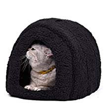 "PAWZ Road Igloo Cat Beds Pet Arch House for Small Dogs and Cats with Soft Removable Pad, Ultra Soft and Cozy Tent 16.5""L x 13""W x 13""H Black"