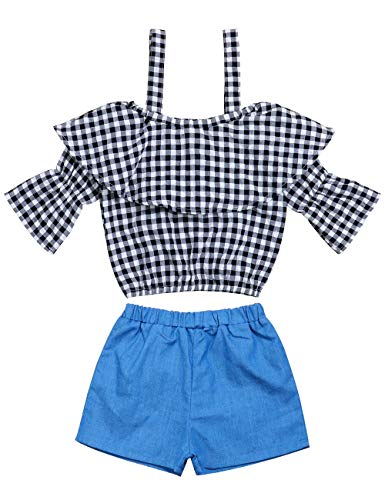 (Toddler Kids Baby Girls Outfits Off The Shoulder Ruffle Halter Stripes Tube Tops Denim Pants Summer Clothes Set for 1-6T)