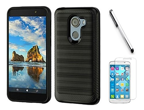 Luckiefind Compatible with Alcatel A30 Fierce (2017) / Alcatel Walters/Alcatel Revvl 5049W. Slim Brush Texture Hybrid Defender Armor Protective Case Cover Accessory (Brush - Faceplate Texture Black Case