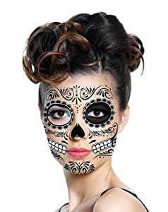 Savvi Day of the Dead Temporary Tattoos - Includes 2 sheets of facial tattoos