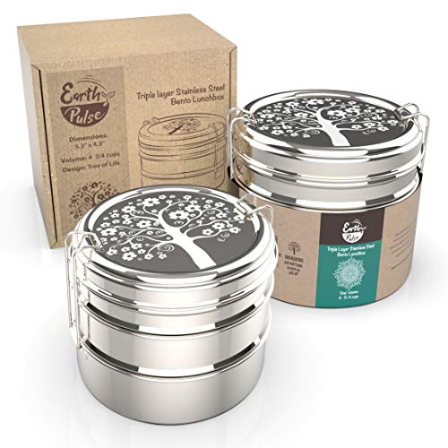 Round Lunch Box - Stainless Steel Lunch Box with 'Tree of Life' Etching | Round 3 Tier Highest Grade Metal Stainless Steel Bento Box | Stackable Containers | Perfect for Kids, Teens and Adults | Novelty Design