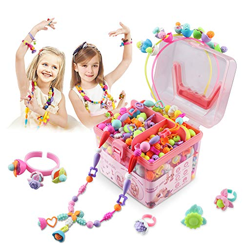CENOVE Pop Beads 530 Pcs, Arts and Crafts Toys Gifts for Girls Age 4,5,6,7,8, Jewelry Making Kit for 4,5,6,7,8 Year Old Girls,Necklace and Bracelet and Ring Creativity DIY Set