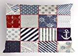 Lunarable Nautical Pillow Sham, Maritime and Nautical Life Design with Vintage Sailor Knots and Anchor Motifs, Decorative Standard King Size Printed Pillowcase, 36 X 20 Inches, Beige Blue