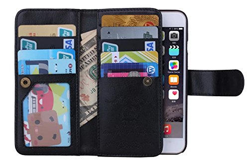 """iPhone 6s Plus Case, DRUnKQUEEn TM Wallet PU Leather Flip Card Holder Clutch Purse, 2 in 1 Detachable Magnetic Back Cover for iPhone 6PLUS / iPhone 6sPlus (5.5"""")"""