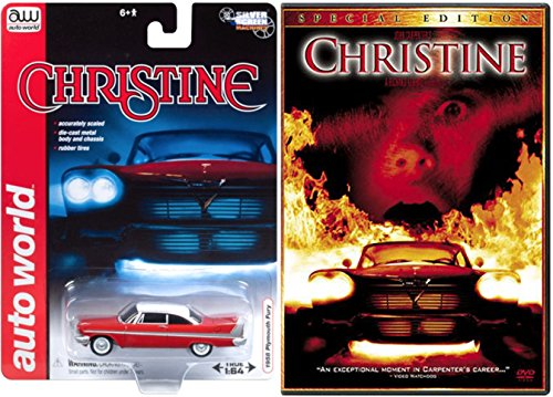 Stephen King Christine DVD John Carpenter + Christine 1958 Plymouth Fury Replica model car Horror Movie special edition set (Classic Halloween Movies On Tv)