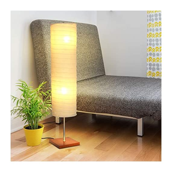 Brightech - Serenity LED Floor Lamp for Living Rooms & Bedrooms – Mid Century Modern Minimalist, Ambient Light – Perfect for Beside The Bed or Office, Corner Lamp - Havana Brown - GORGEOUS MODERN LAMP THAT LOOKS GREAT WITH ANY DÉCOR: The Serenity LED Floor Lamp looks beautiful amid contemporary, mid century modern, or industrial décor. It has an extended open top and a neutral linen cylinder shade that hovers over a symmetric square base (9 x 9 inches) of solid Havana Brown wood. The unique modern style and size of this lamp makes it the perfect corner, bedside, office, or living room lamp. BEAUTIFUL WARM LIGHT FOR HOME OR OFFICE: The Serenity Lamp lives up to its name! It gives off warm, serene light that will create a cozy and comfortable space for any room in your home or office. This lamp is the perfect couch or bedside lamp that gives off soft beautiful lighting to enlighten your bedroom, living room, den, nursery, meditation room, or office. This lamp does not have the glare of overhead lights or exposed bulbs as its neutral linen shade softens the light giving your room a wa LONG LASTING & ENERGY SAVING INDOOR LAMP: Included in the Tranquility's package are two 5 Watt power saving LED light so that you will never have to replace a bulb. The advanced 2,700K warm white LED technology with 550 lumens for each bulb allows this lamp to outshine lamps that depend on short lived, energy consuming standard halogen or incandescent bulbs. This LED lighting will endure for more than 20 years without burning out or overheating. - living-room-decor, living-room, floor-lamps - 513gR6liUqL. SS570  -