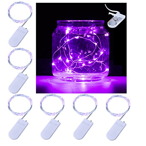 Pack of 6 LED Moon Lights 20 Micro Starry LEDs on Copper (Purple Table Decorations)