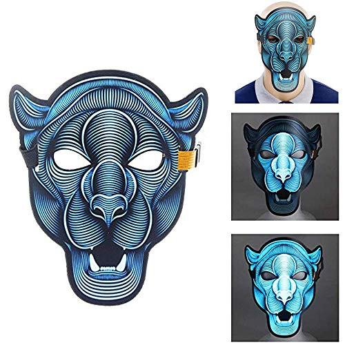 Sound Activated Masks LED Halloween Mask,Music Voice Control Full Face Adjustable Mask Glow in Dark for Festival,Cosplay,Party,Halloween Dance Rave Gift Costume Props (Tiger)