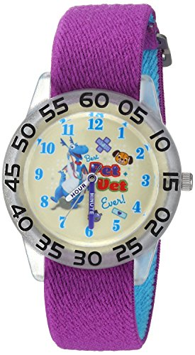 Disney Girl's 'Doc Mcstuffins' Quartz Stainless Steel and Nylon Casual Watch, Color:Purple (Model: WDS000288)