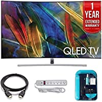 Electronics QN65Q7C Curved 65-Inch 4K Ultra HD Smart QLED TV (2017 Model) - Bundle Includes,1 Year Extended Warranty, 4K HDMI 2.0 Cable, Surge Protector, Cleaning Cloth