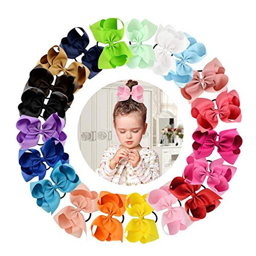 (Tobatoba 20 Pack 6'' Hair Bows Elastics Grosgrain Ribbon Pinwheel Boutique Ponytail Holder Hair Ties For Baby Girls Teens Toddlers Kids Children, 20 Colors)