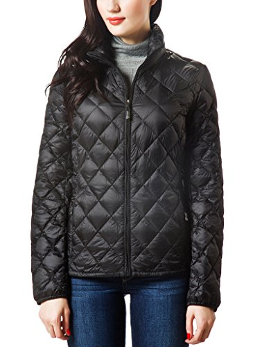 XPOSURZONE Women Packable Down Quilted Jacket Lightweight Puffer Coat Black S