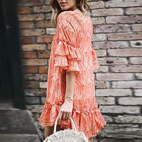 Beach Summer a Orange a Dress Casual Fold manica For V 2019 Women's farfalla Opaky Print Scollo Vacation Sexy Ladies Fashion 7HxqZFqTw