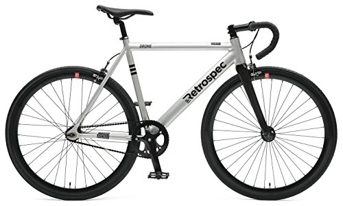 Retrospec Bicycles Drome Fixed-Gear Track Bike with Carbon Fork, Brushed Alloy, 52 cm/Small (Track Frame Leader)
