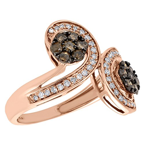 & Brown Round Diamond Double Flower Cluster Right Hand Cocktail Ring 0.75 Cttw (Diamond Flower Right Hand Ring)