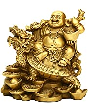 """4.5""""(H) Ruyi Laughing Buddha and Turtle-Wealth, Good Fortune, Health Buddha Statue for Home Office Decor PTZY062"""
