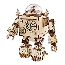 ROBOTIME 3D Laser Cut Wooden Puzzle Hand Crank Music Box Mechanism Robot Diy kits with Light and Lovely music for Boys,Girls,lovers