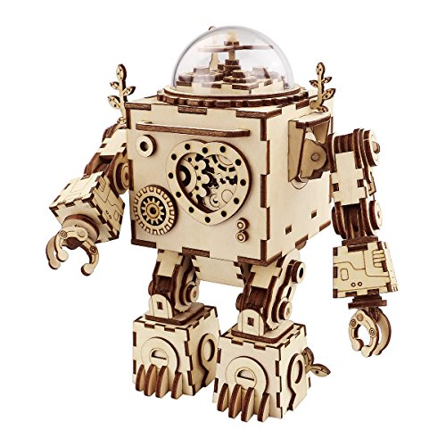 ROBOTIME 3D Puzzle Music Box Wooden Craft Kit Robot Machinarium Toy with Light Best Gifts for Women & Men ()
