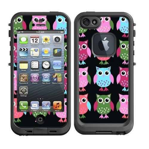 new arrivals e1ec6 3fda9 Skins Kit for Lifeproof iPhone 5 Case (skins/decals only) – Cute Owls Owl  pattern Print Pink Green