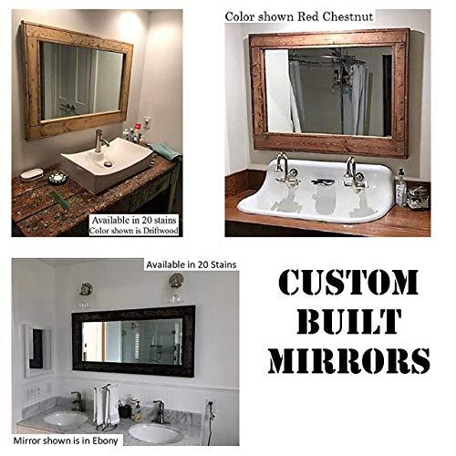 CUSTOM ORDER - Herringbone Reclaimed Wood Framed Mirror - Made to Order Custom Size - 20 Stain colors - Custom Made Rustic Home Decor