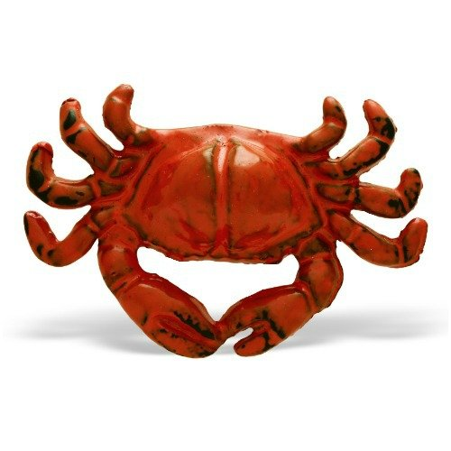 (MarktSq Set of 4 Crab Shaped Cabinet Knob in Distressed Orange Finish)