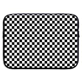 13 Inch Laptop Sleeve Briefcase,Black and White Checkered Neoprene Waterproof Handbag for Surface Laptop MacBook Pro/MacBook Air/Acer/Asus/Dell/Lenovo/iPad/Surface Book