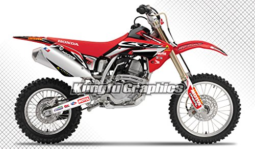 Kungfu Graphics Motul Style Custom Decal Kit for Honda CRF150R 2007 2008 2009 2010 2012 2013 2014 2015 2016, Red Black - Graphic Replica Honda